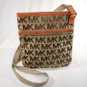 Michael Kors Tan Pattern Orange Crossbody Purse